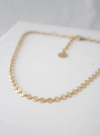 Katie Waltman Jewelry: Gold Round Textured Circle Choker