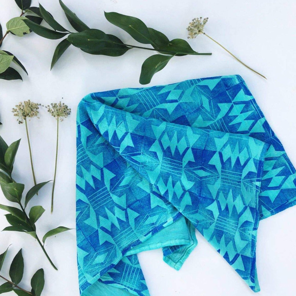 Andria Green: Tribal Diamonds Tea Towel, Turquoise