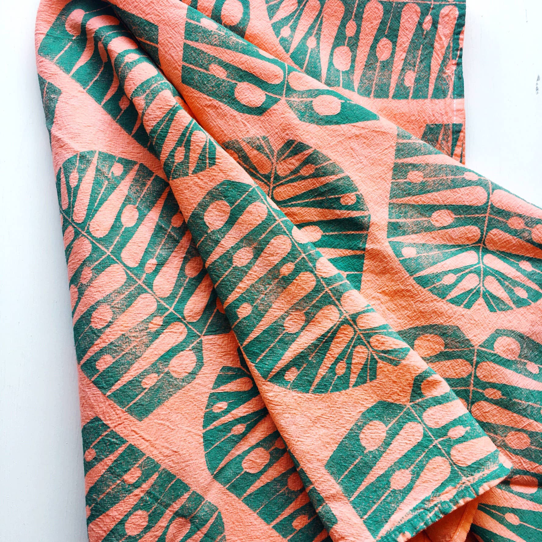 Andria Green: Monstera Leaf Tea Towel, Peach/Turquoise