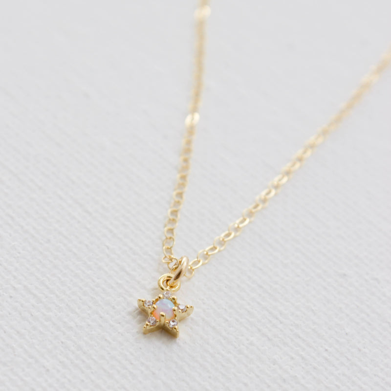 "Katie Waltman Jewelry: Mini Opal Star on 16"" Gold Filled Chain"