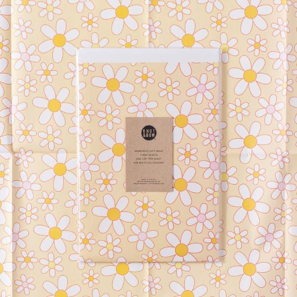 Knot and Bow: Daisies Newsprint Gift Wrap