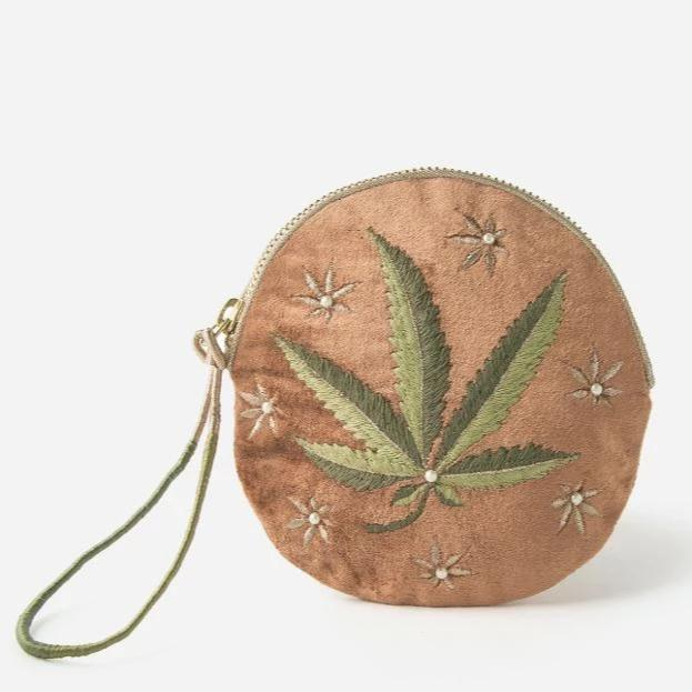 Printfresh: Just a Weed Small Round Embroidered Pouch