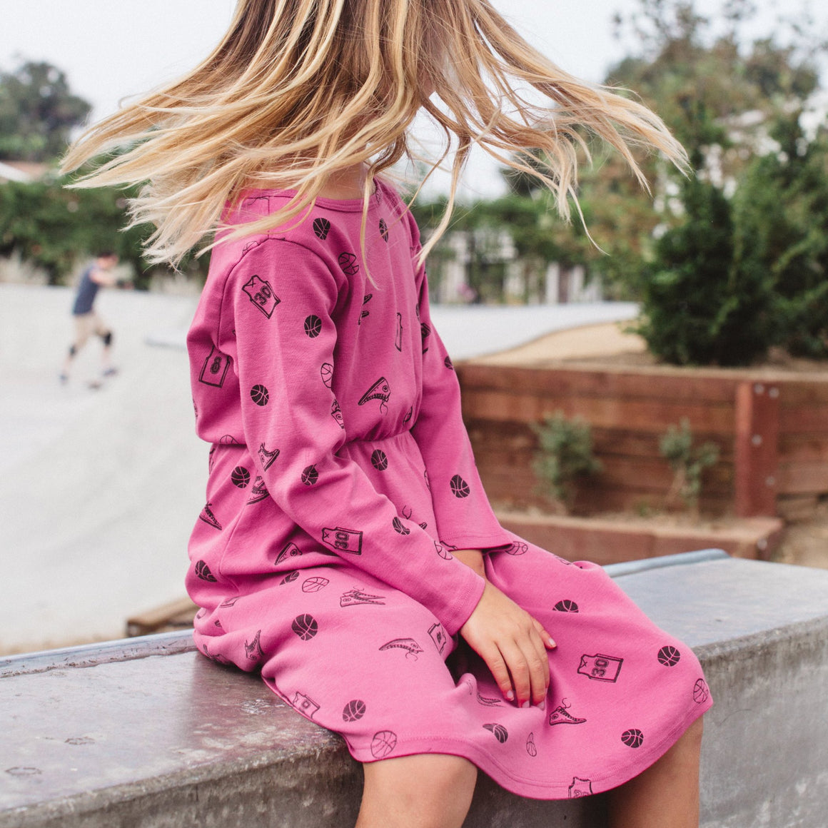 Basketball Print Skater Dress, Long Sleeve, Rose Pink