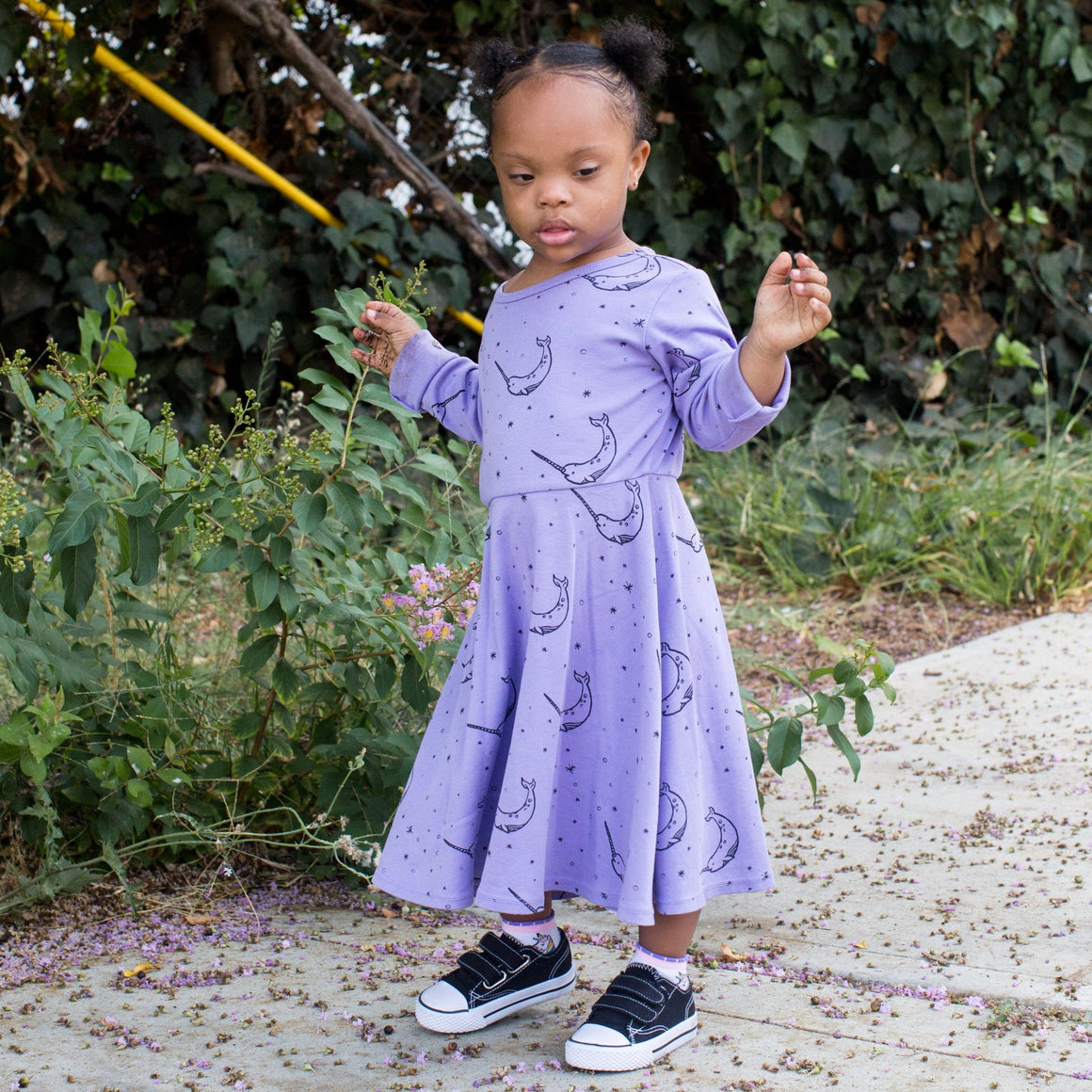 Narwhal Print Skater Dress, Long Sleeve, Iris Purple