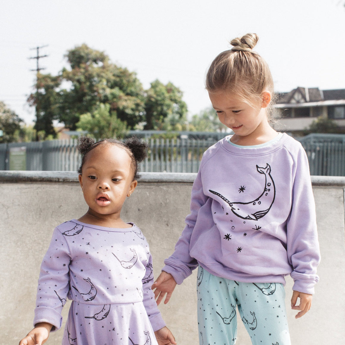 Narwhal Graphic Raglan Sweatshirt, Iris Purple