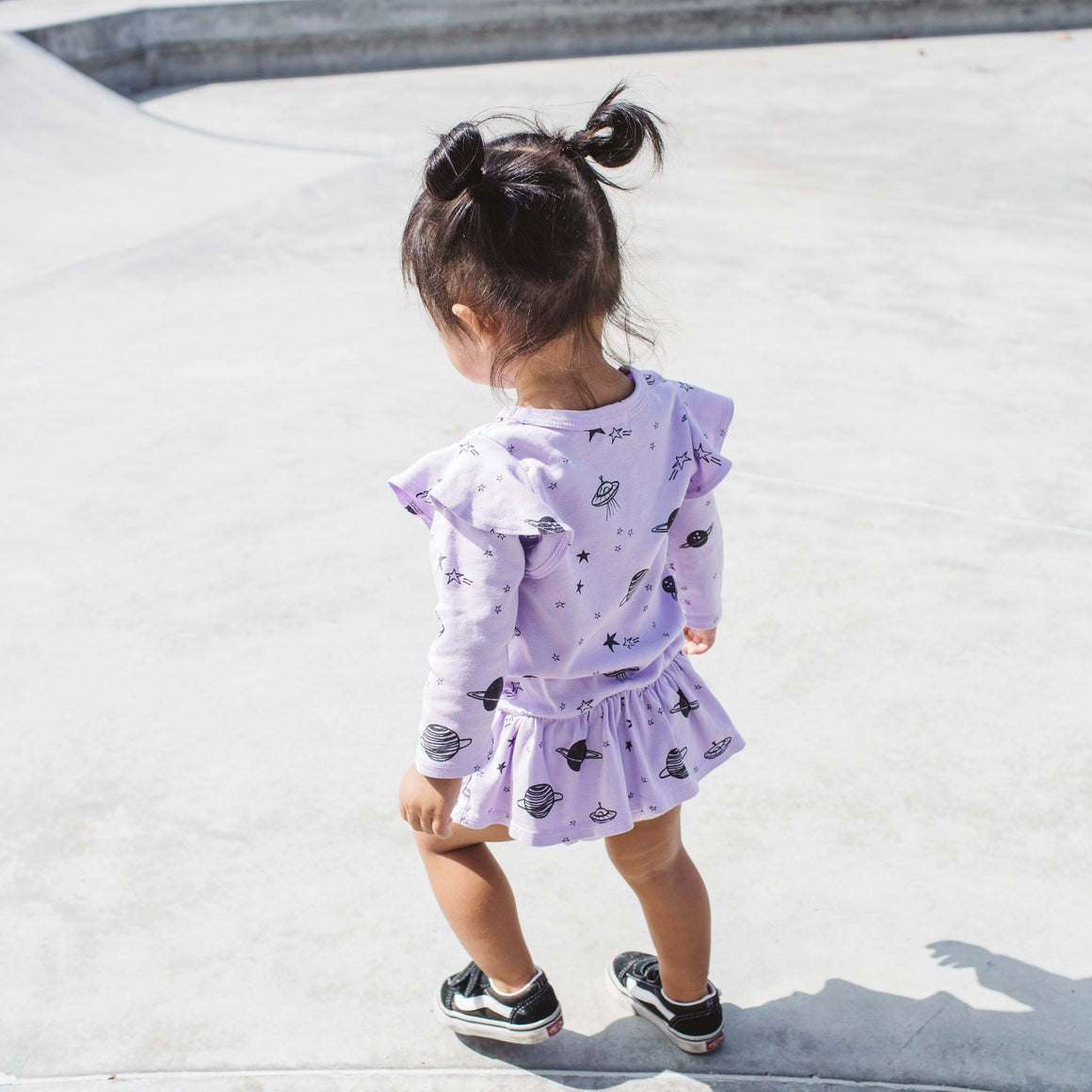 Cosmos Print Dress Onesie, Long Sleeve, Lavender