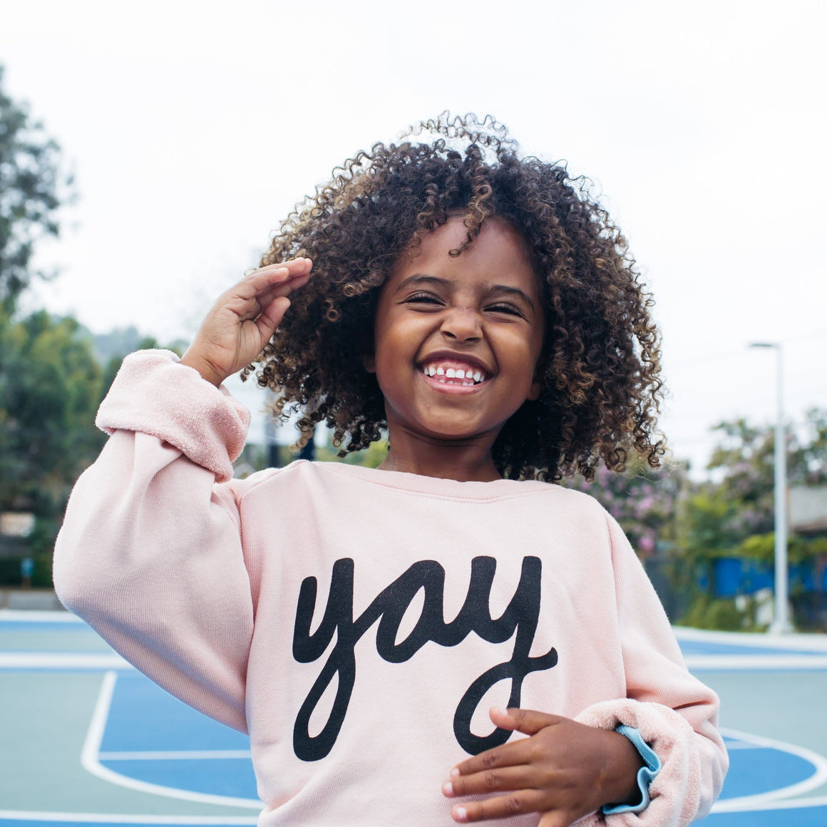 Yay Graphic Raglan Sweatshirt, Blush