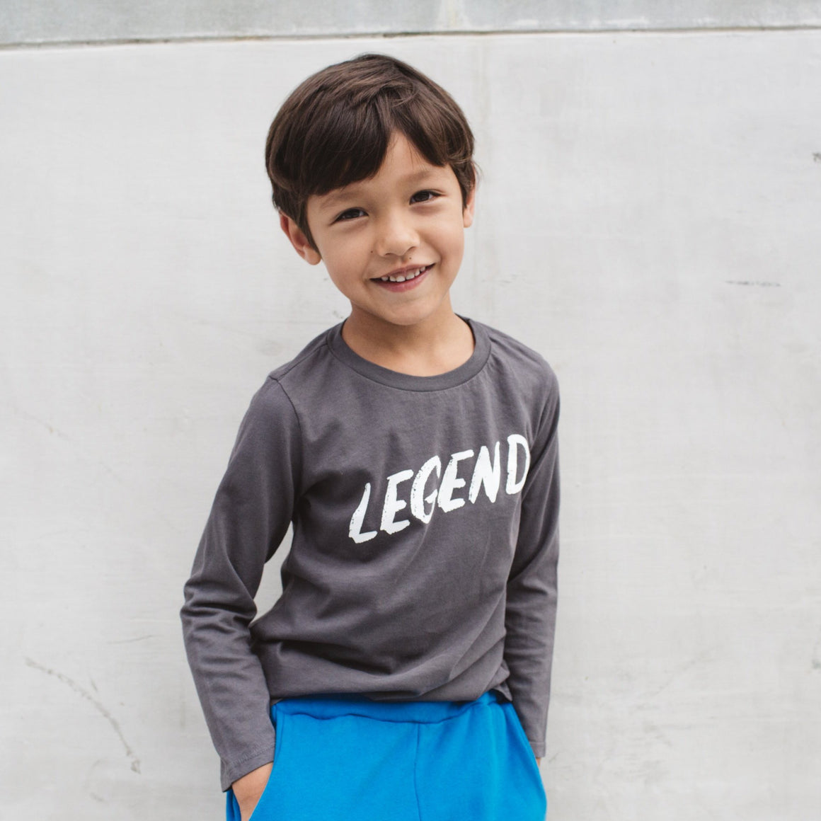 Legend Graphic T-shirt, Long Sleeve, Slate Grey