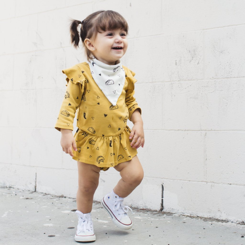 Taco Print Dress Onesie, Long Sleeve, Golden