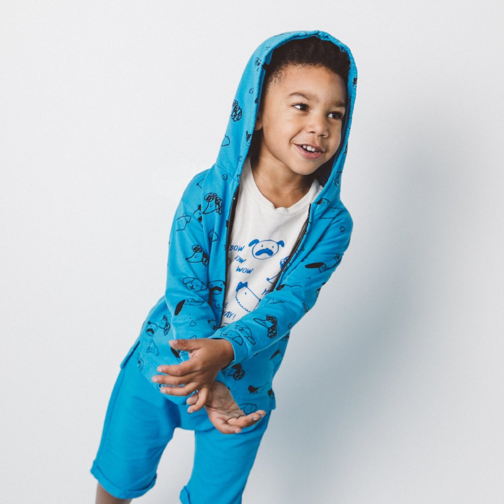 Puppy Print Zip Hooded Sweatshirt, Azure Blue