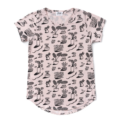 Plants Print Scoop Neck T-shirt, Powder Pink | Women