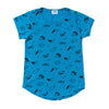Puppy Print Scoop Neck T-shirt, Azure Blue | Women