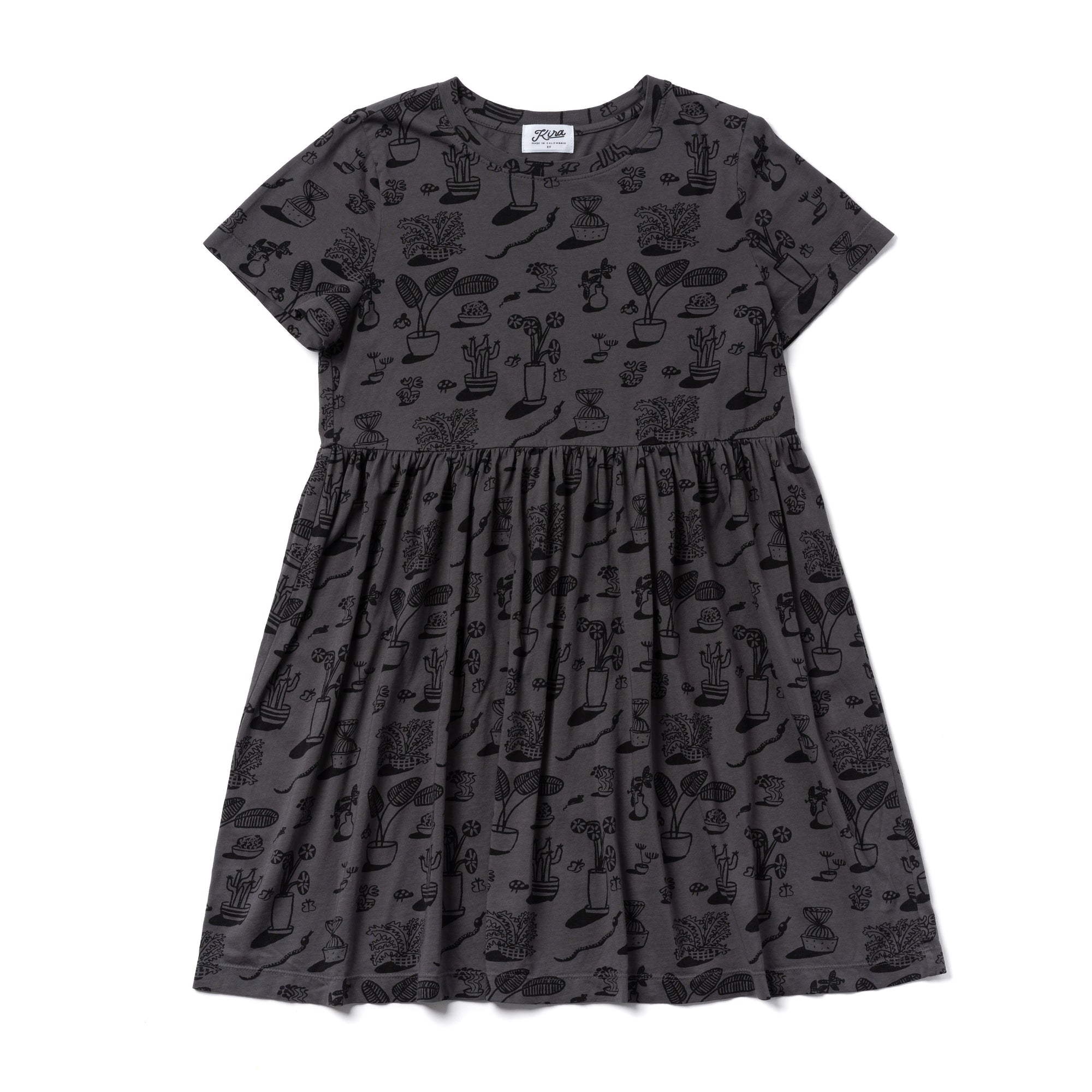 Plants Print Baby Doll Dress, Slate Grey | Women