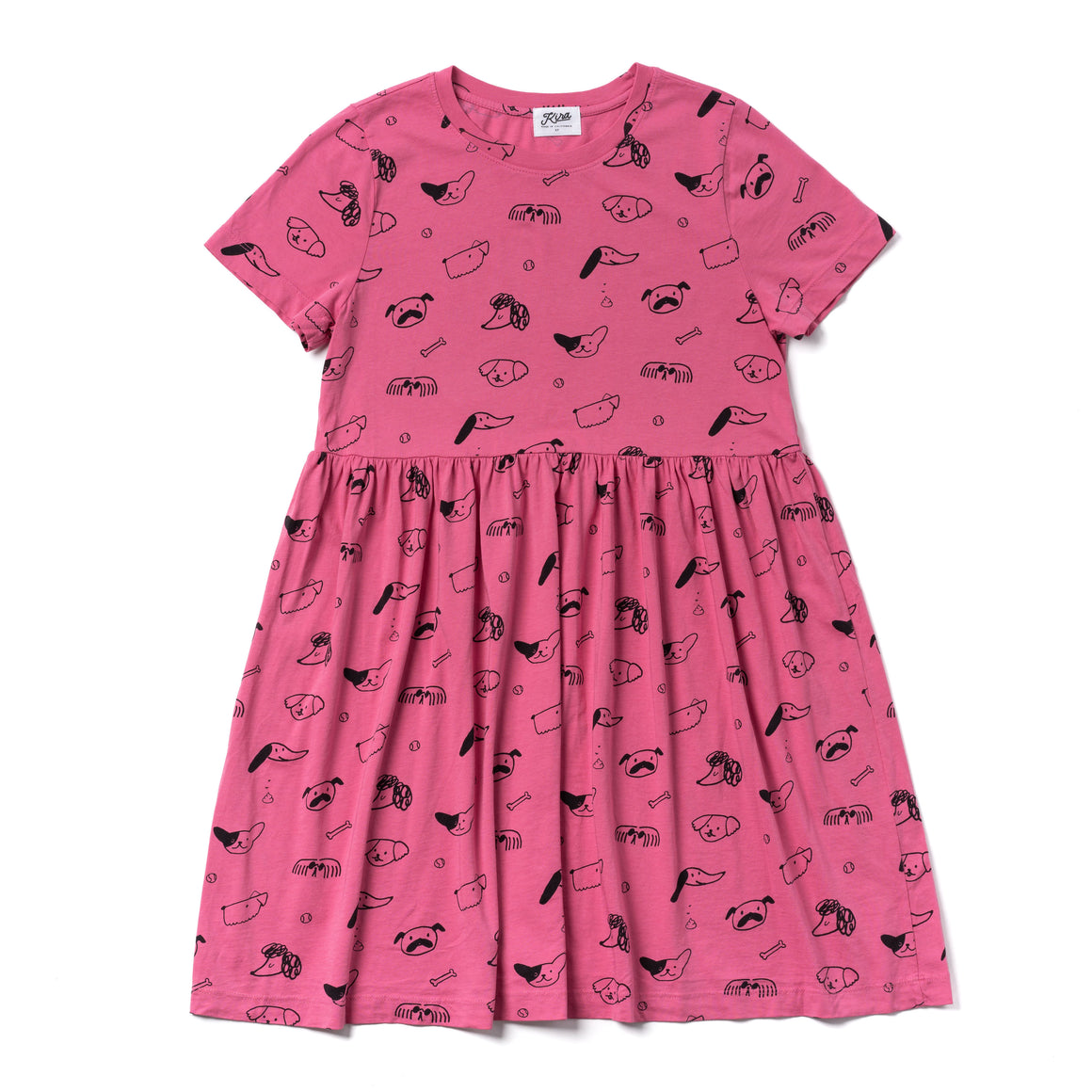 Puppy Print Baby Doll Dress, Light Rose | Women