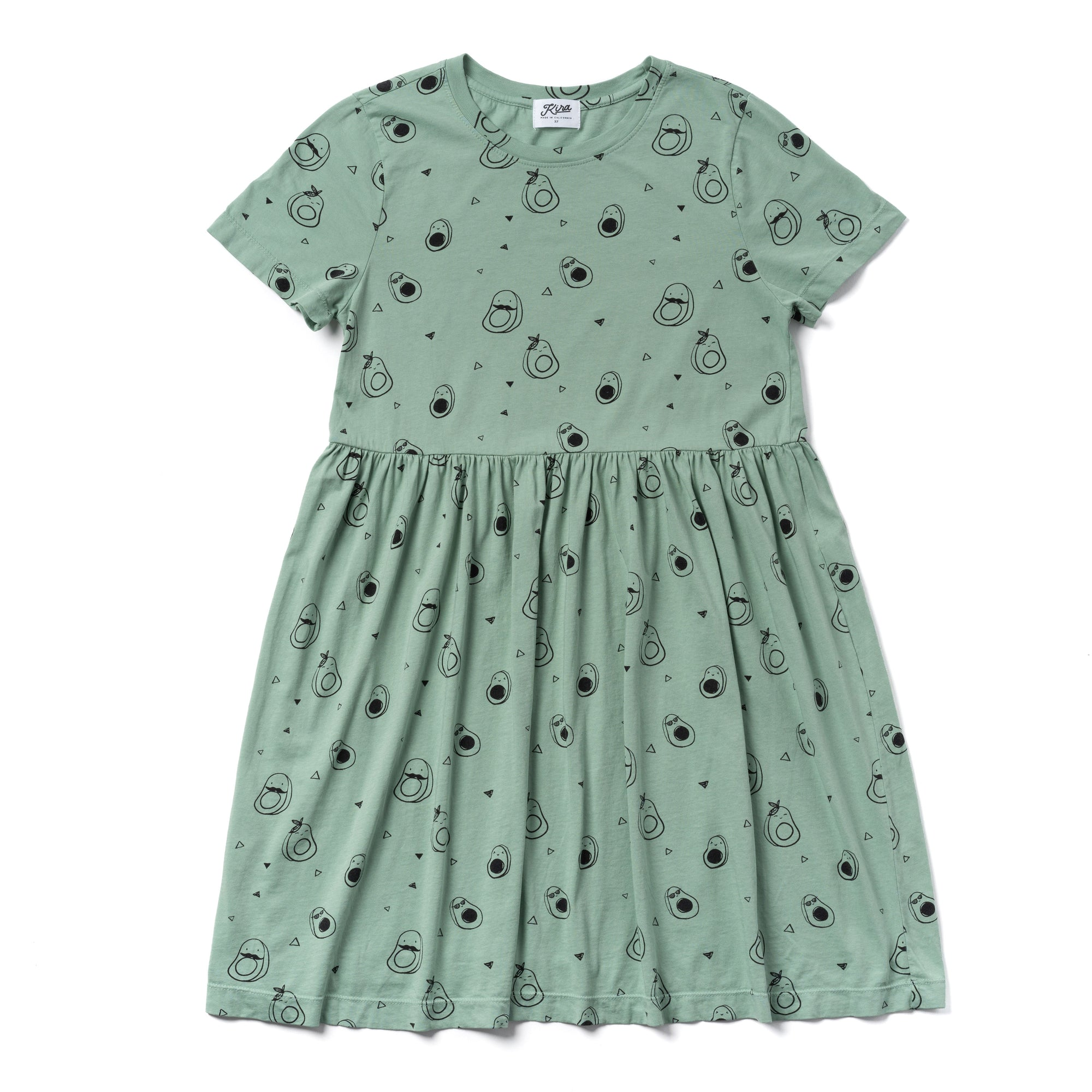 Avocado Print Baby Doll Dress, Celadon | Women