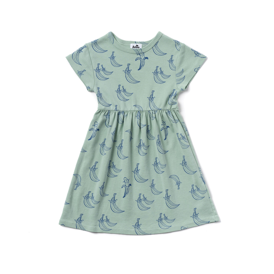 Banana Print Baby Doll Dress, Ocean Mint