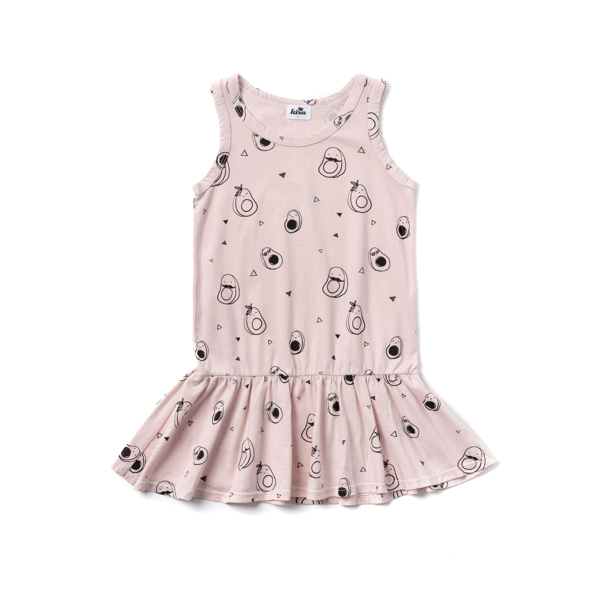 Avocado Print Tank Ruffle Dress, Powder Pink