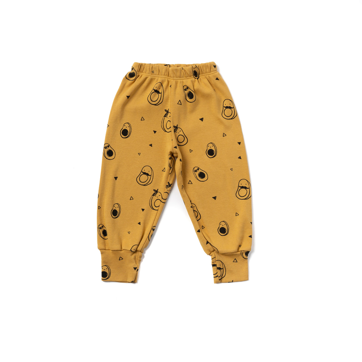 Avocado Print Bubble Pants, Golden