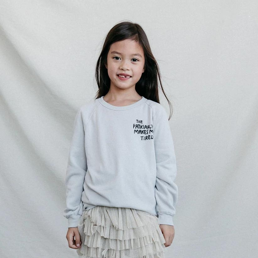 The Patriarchy Makes Me Tired Raglan Sweatshirt | Kids