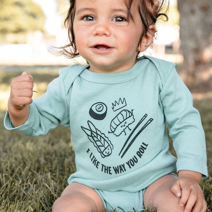 I Like the Way You Roll Graphic Onesie, Long Sleeve, Celadon