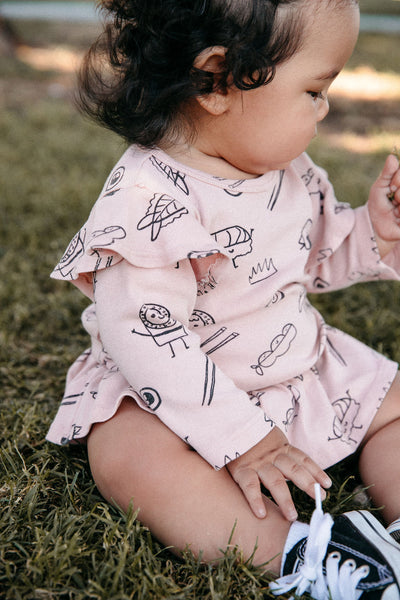 Sushi Print Dress Onesie, Long Sleeve, Blush