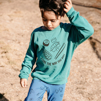 I Like the Way You Roll Graphic Raglan Sweatshirt, Dark Turquoise
