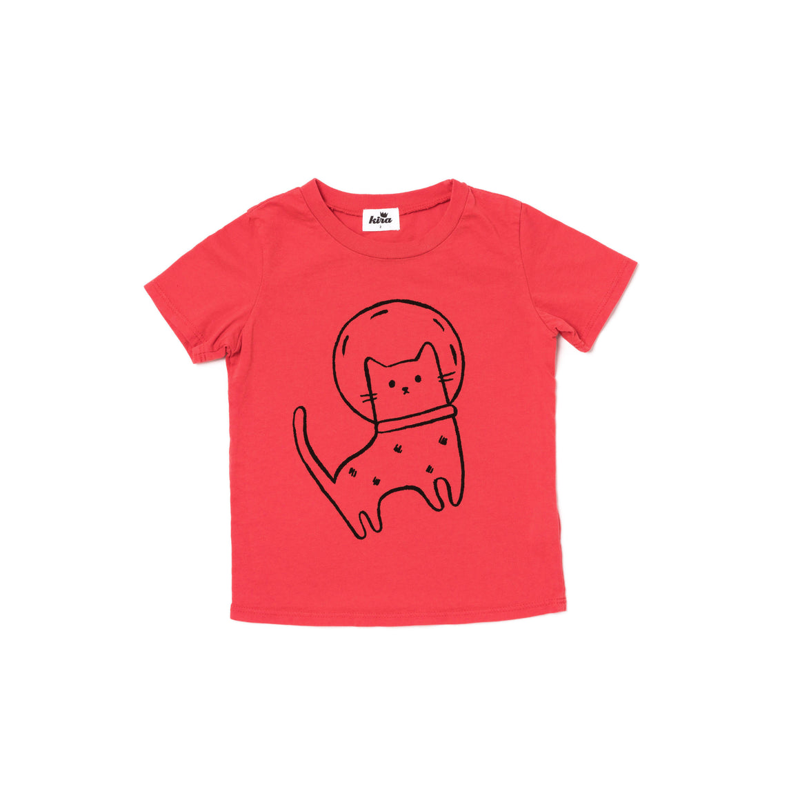 Space Cat Graphic Short Sleeve T-shirt, Fluro Coral