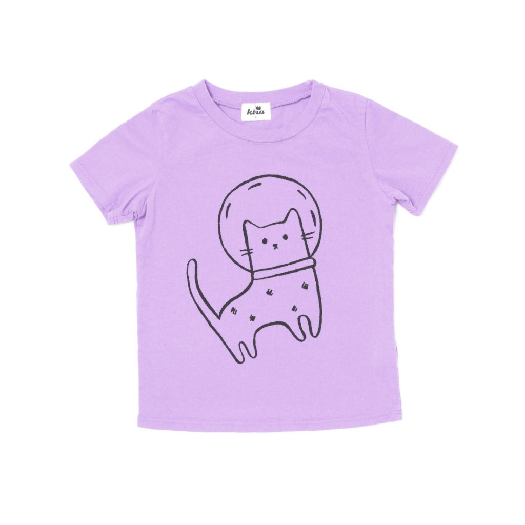 Space Cat Graphic Short Sleeve T-shirt, Pastel Violet