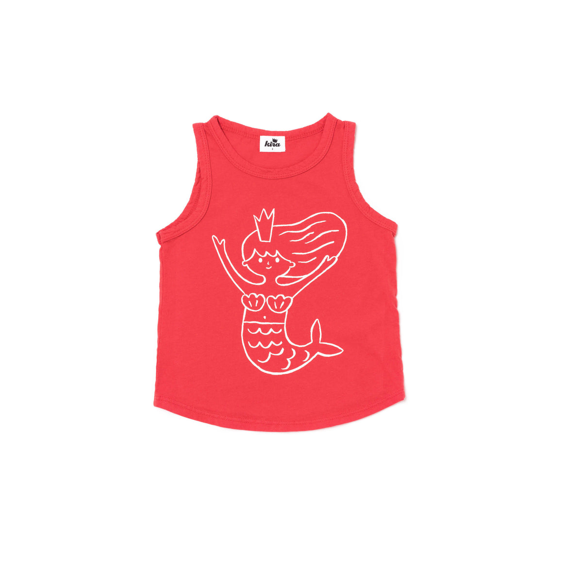 Mermaid Graphic Unisex Tank, Fluro Coral