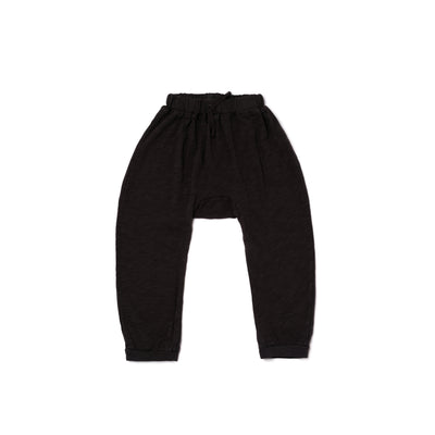 Slub Harem Pants, Black