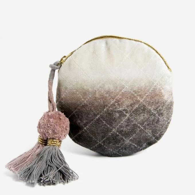 Printfresh: Grey Dip Dye Velvet Small Round Pouch
