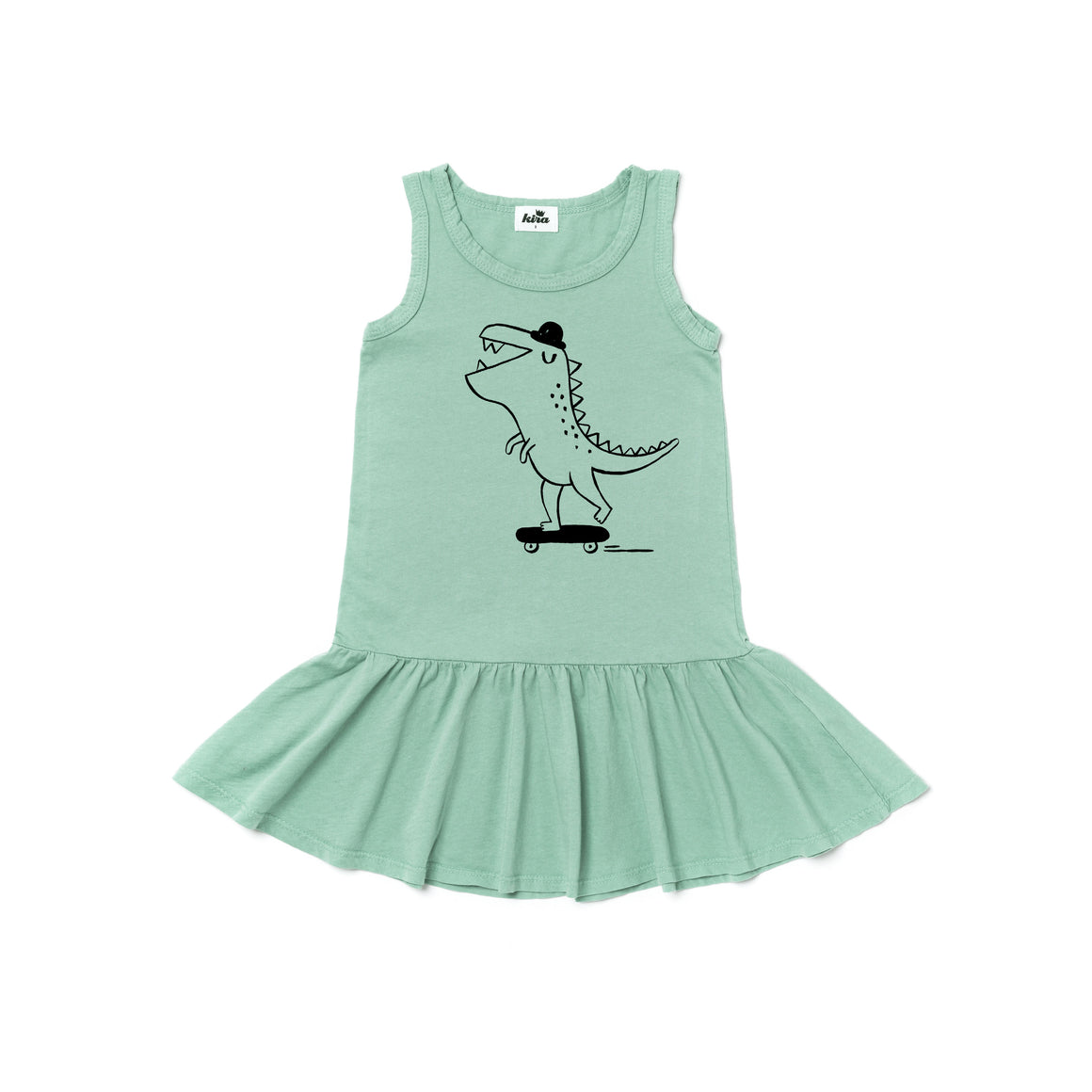 T. Rex Graphic Ruffle Tank Dress, Celadon