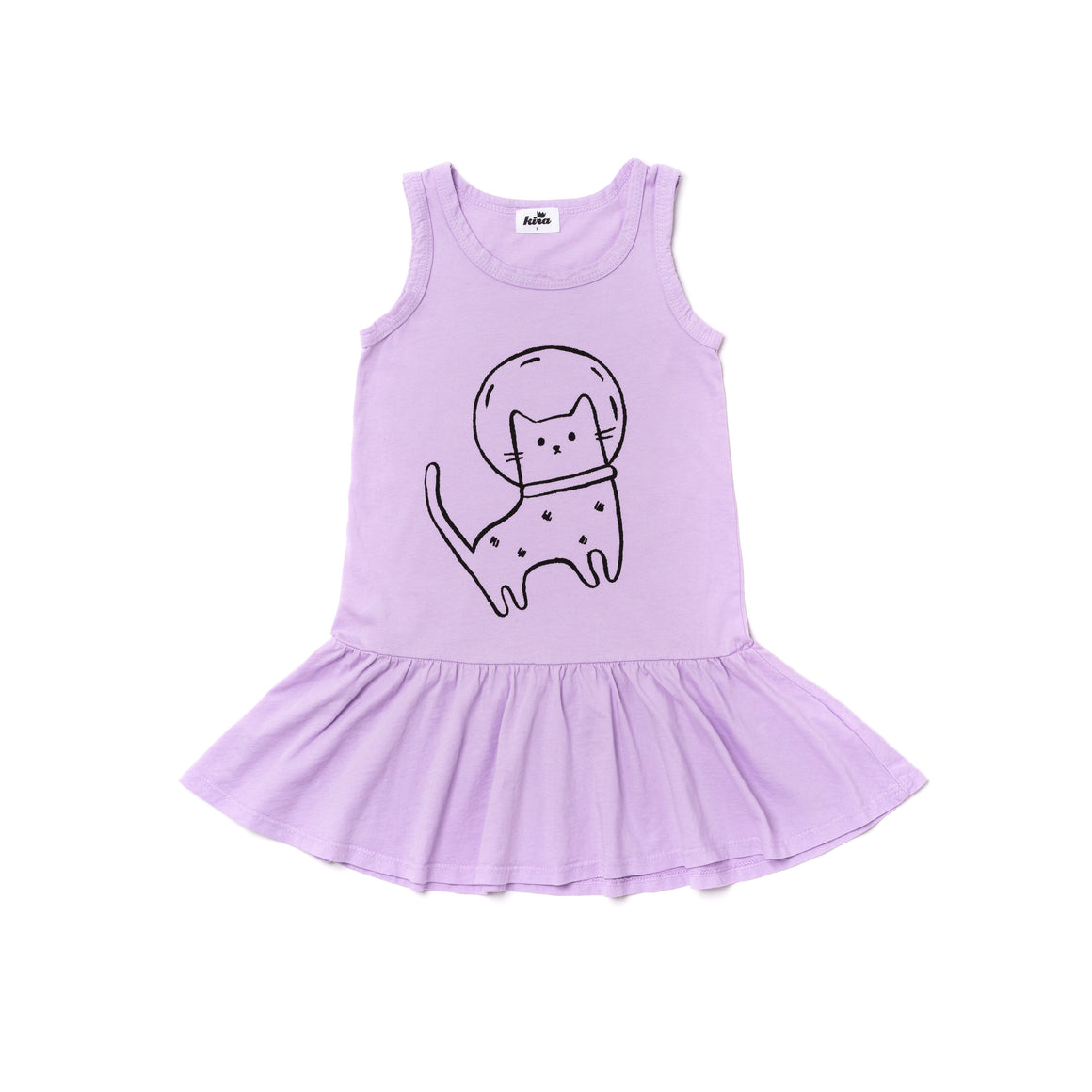 Space Cat Graphic Ruffle Tank Dress, Pastel Violet