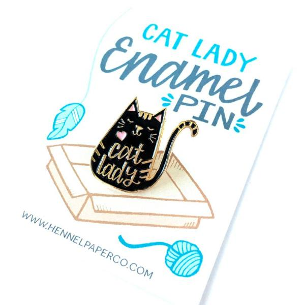Hannel Paper Co: Cat Lady Enamel Pin, Black