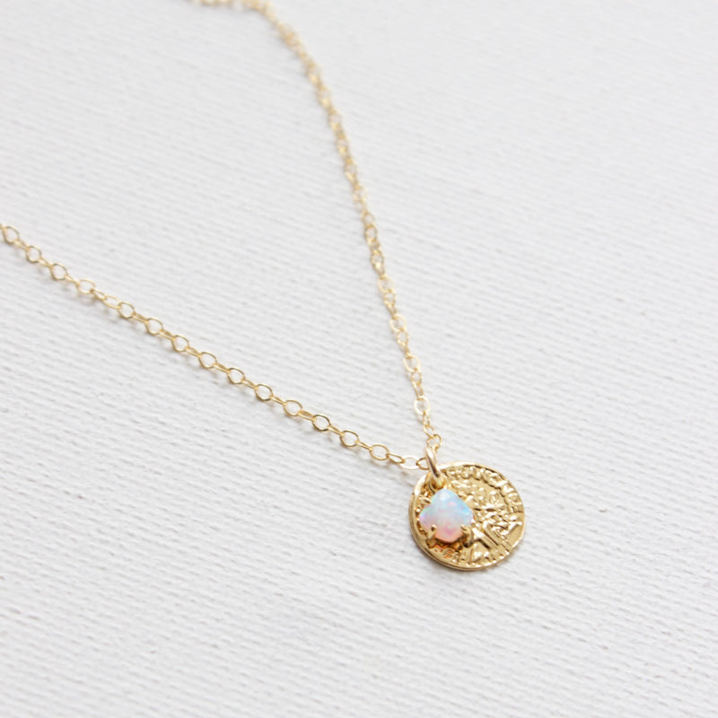 "Katie Waltman Jewelry: Small Gold Coin With Opal Accent On 18"" Gold Filled Chain"
