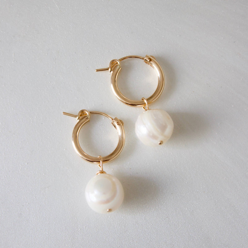 Katie Waltman Jewelry: Gold Filled Hoop With Large Organic Shaped Round Pearl Drop