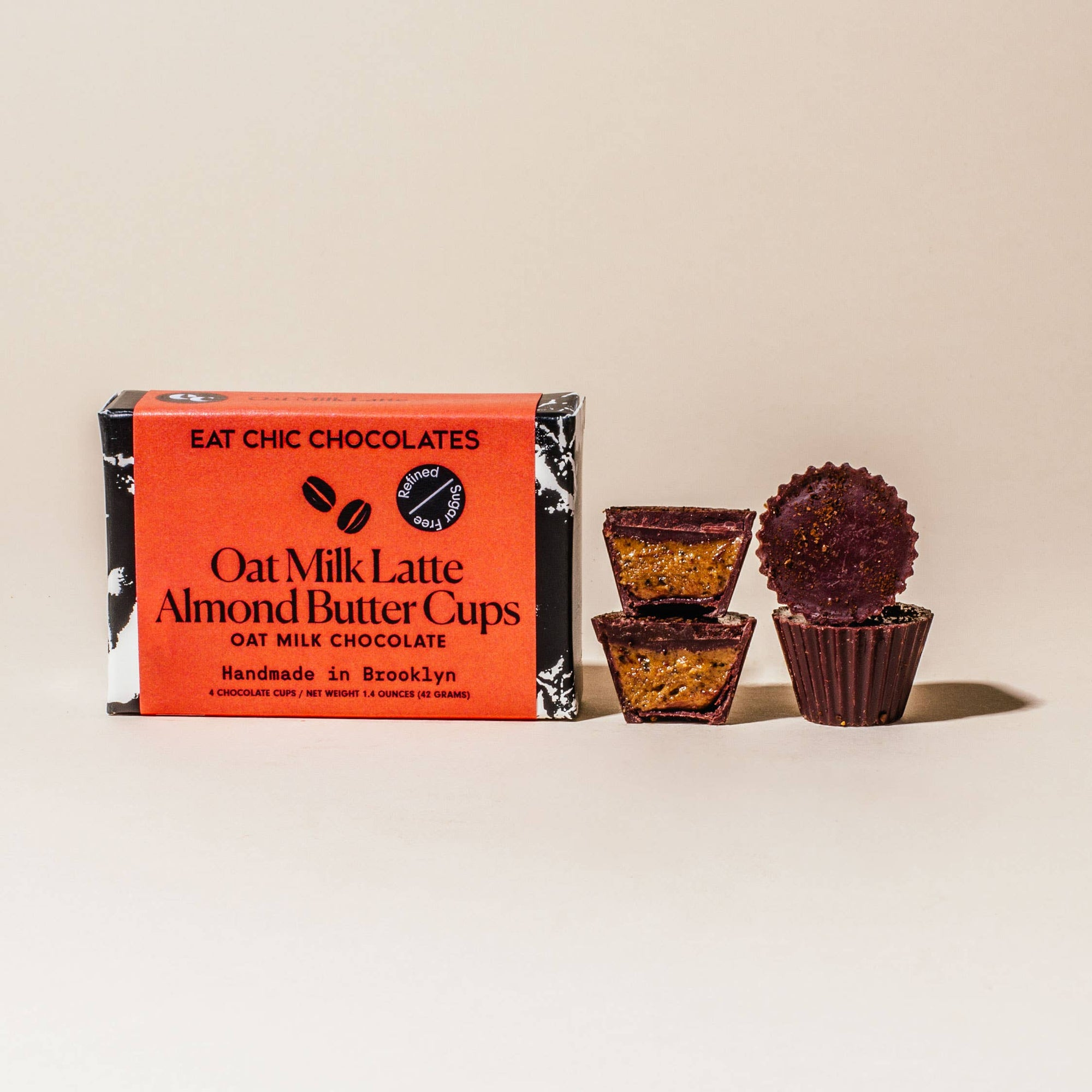 Eat Chic Chocolates: Oat Milk Chocolate Latte Almond Butter Cups - Pack of 4