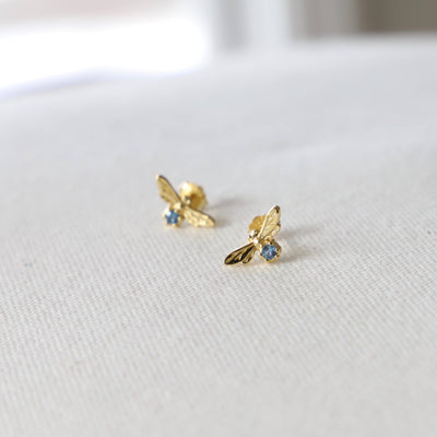 Katie Waltman Jewelry: Bee and Aqua Zirconia Stud