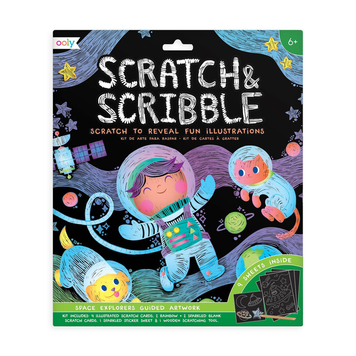 OOLY: Large Scratch and Scribble Art Kit, Space Explorers