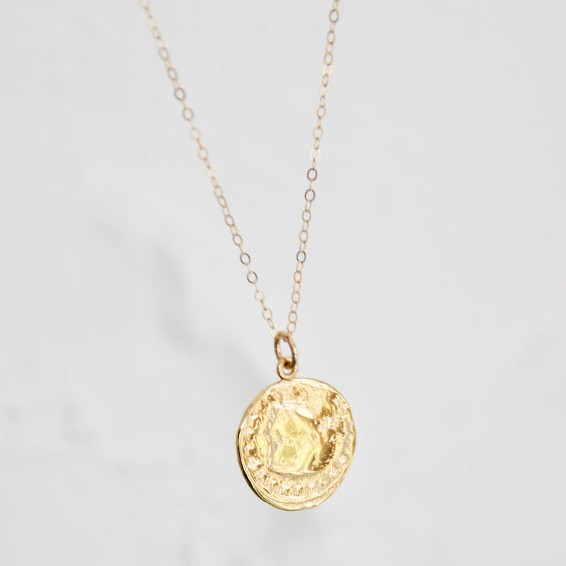 "Katie Waltman Jewelry: 18"" Gold Cable Chain With Medium 24kt Gold Plate Coin Pendant"