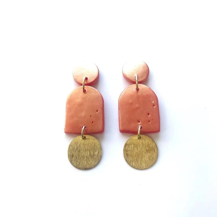 Sigfus Designs: Dome Earrings - Pink Shimmer