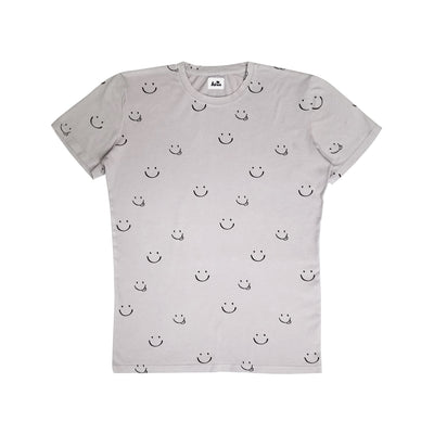 Adult Smiles Print T-shirt, Light Grey | Unisex Adult