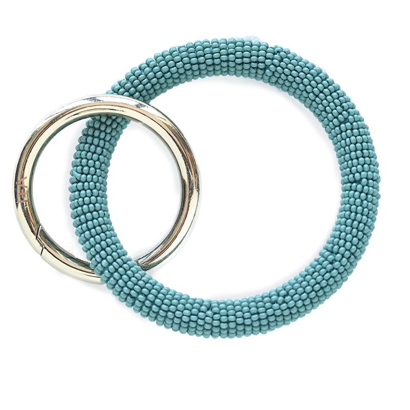 Ink + Alloy: Teal Seed Bead Key Ring