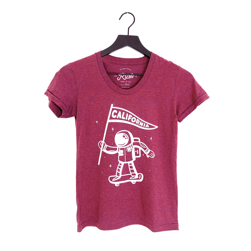 Womens' California Astronaut Scoop Neck T-shirt, Heather Cranberry