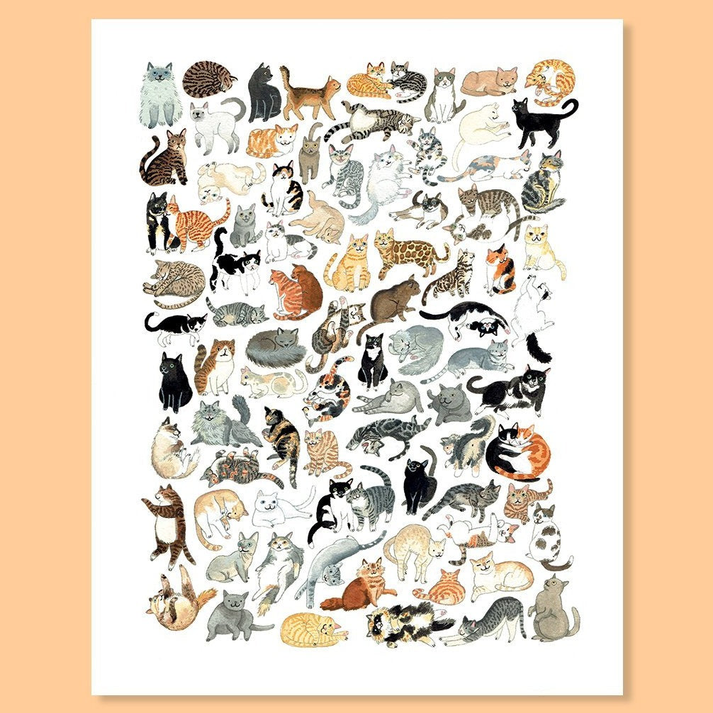 Cactus Club: Cat Clutter Print, 8x10
