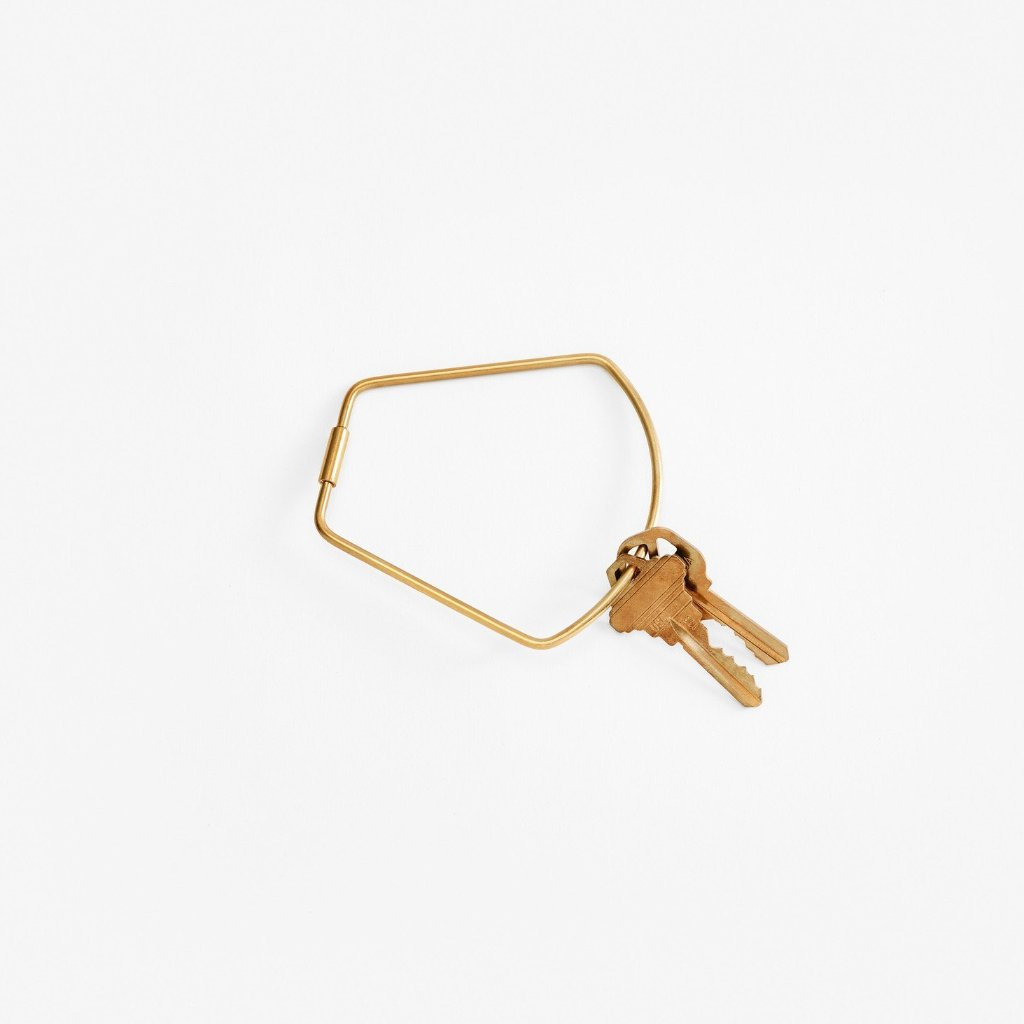 Areaware: Contour Key Ring - Brass/Bell