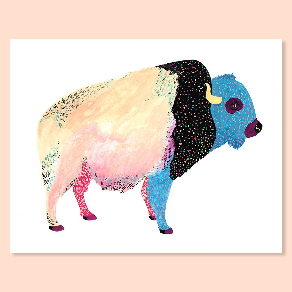 Cactus Club: Cosmic Bison Print, 8x10