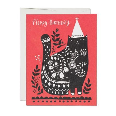 Red Cap Cards: Black Cat Birthday Card