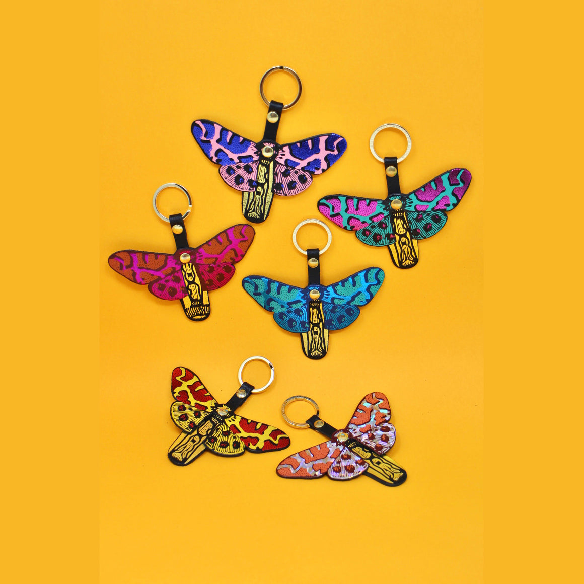 Ark Colour Design: Butterfly Key Fobs, Green/Hot Pink