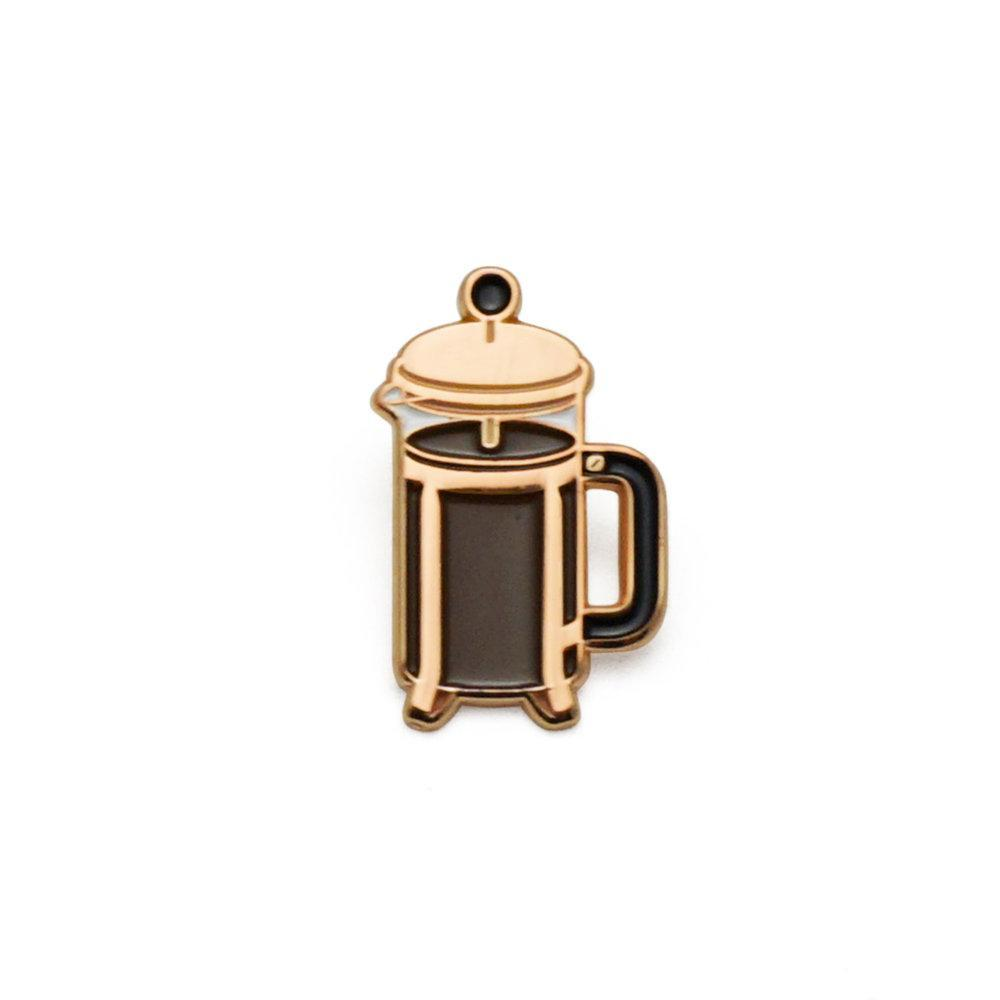 Lucky Horse Press: Coffee Press Enamel Pin (Rose/Gold)